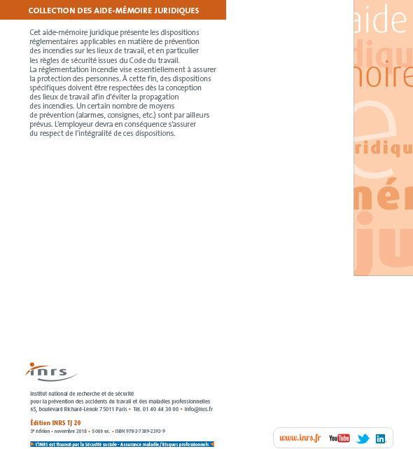 b20724554d5 Prévention des incendies sur les lieux de travail - TJ 20   Aide-mémoire  juridique